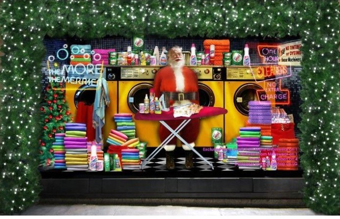 santa claus in store window